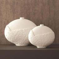 Asymmetrical Stipple Vase - Matte White - Sm