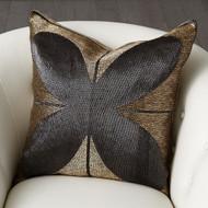 Blossom Beaded Pillow - Gold/Black
