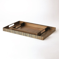 Kokoro Etched Rectangular Tray - Brass - Sm