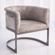 Regan Barrel Chair w/Grey Hair - on - Hide - Antique Gunmetal