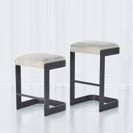 Regan Low Bar Stool w/Grey Hair - on - Hide - Graphite