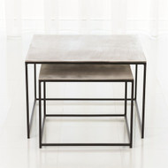 S/2 Sand Casted Nesting End Tables - Black Frame w/Nickel Top