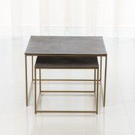 S/2 Sand Casted Nesting End Tables - Gold Frame w/Black Top