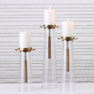 Seeded Glass Pillar Holder - Antique Brass - Lg