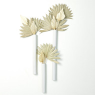 Striped Tube Wall Vase - Matte White - Med