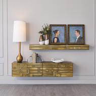 Abstract Block Floating Shelf - Brass
