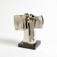 Abstract Dual Figure Sculpture - Nickel