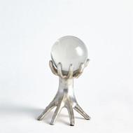 Hands on Sphere Holder - Silver Leaf - Sm
