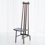 High Back Chair - Bronze/Dark Brown Leather