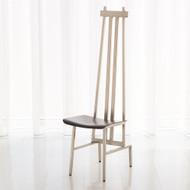 High Back Chair - Nickel/Dark Grey Leather