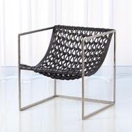 Knit Pearl Chair - Nickel - Dark Grey Leather
