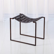 Knit Pearl Stool - Bronze - Dark Brown Leather