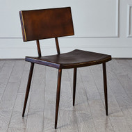 Mod Metal Chair w/Brown Leather Seat Cover - Bronze