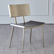 Mod Metal Chair w/Grey Leather Seat Cover - Nickel