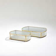 Reeded Glass Oval Box - Sm