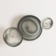 S/3 Crosshatched Wall Discs - Grey Swirl