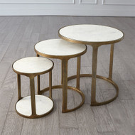 S/3 Marble Top Nesting Tables - Brass