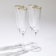 S/4 Hammered Champagne Glasses - Clear W/Gold Rim