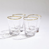 S/4 Hammered DOF Glasses - Clear W/Gold Rim