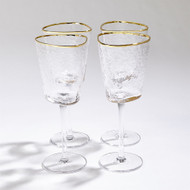 S/4 Hammered Wine Glasses - Clear W/Gold Rim