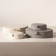 Signature Oval Leather Box - Marble Grey - Sm