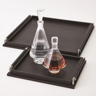 Wrapped Handle Tray - Black Leather - Sm