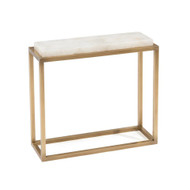 Calcite and Antique Brass Accent Table