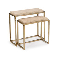 Set of Two Marble Nesting Side Tables - Rectangular