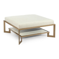 Gold Two-Tier Metal Base Ottoman - Large