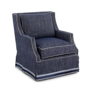 Wingback Scoop-Arm Swivel Skirted Chair - Navy Fabric
