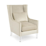 High-Back Wing Chair - Cream Velvet