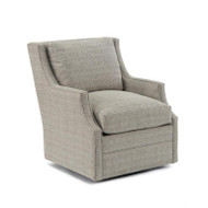 Wingback Scoop-Arm Swivel Chair - Beige Fabric