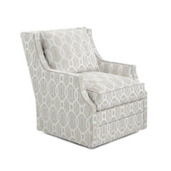 Wingback Scoop-Arm Swivel Chair - Trellis Fabric