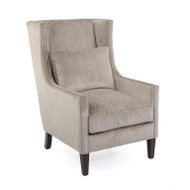 High-Back Wing Chair - Beige Velvet