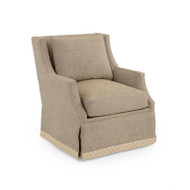Wingback Scoop-Arm Swivel Skirted Chair - Beige Fabric