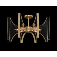 Genesis: Acrylic and Antique Brass Eight-Light Semiflush