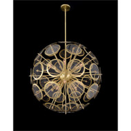 Genesis: Acrylic Sphere Ten-Light Pendant in Antique Brass