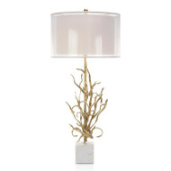 Swirling Reeds in Brass Table Lamp