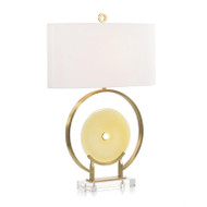 Amber Glass and Brushed Brass Table Lamp
