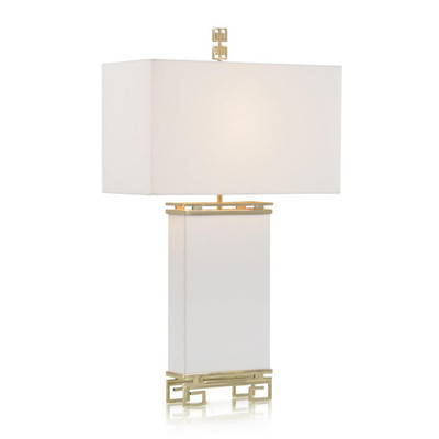 Ivory Leather and Brass Table Lamp