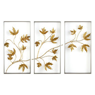 Set of Three Falling Leaves Triptych Wall Art
