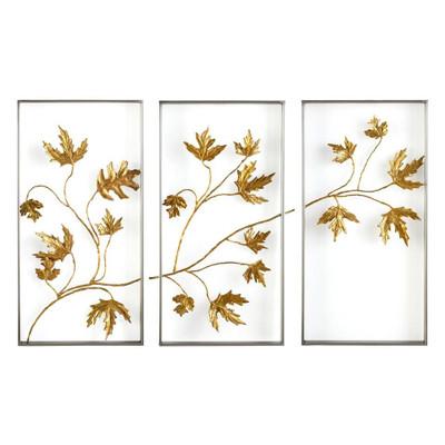 Set of Three Falling Leaves Triptych Wall Art