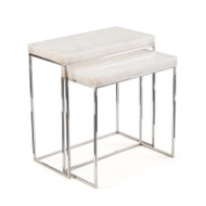 Set of Two Calcite and Stainless Steel Nesting Tables