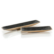 Set of Two Trays in Black Leather Enamel