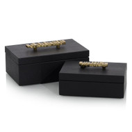 Set of Two Onyx Antique Grain Leather Boxes