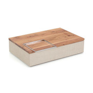 White Confetti Leather and Wood Box II