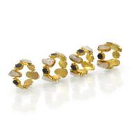 Set of Four Charcoal Druzy and Quartz Napkin Rings