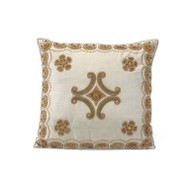 Grey Silk Pillow with Center Medallion