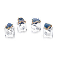 Set of Four Blue and Gold Geode Napkin Rings