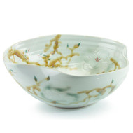 Curled-Rim Bowl in Greens and Yellows - Medium